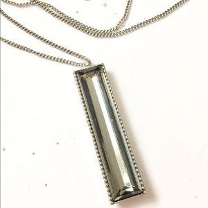 LOFT Rhinestone Necklace Silver